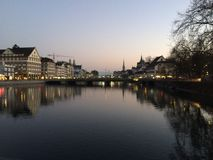 Zurich in the evening Royalty Free Stock Photography