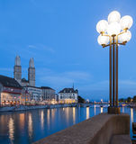 Zurich, evening, Limmat & Great Minster Royalty Free Stock Images