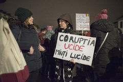 Zurich, 5 february 2017. Protest in solidarity with the protest against the government in Bucharest. 5 february 2017 Zurich, Switzerland. Protest in solidarity Royalty Free Stock Photos