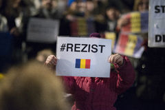 Zurich, 5 february 2017. Protest in solidarity with the protest against the government in Bucharest Stock Photography