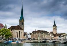 Zurich Fraumunster kyrka, Schweitz Royaltyfria Bilder