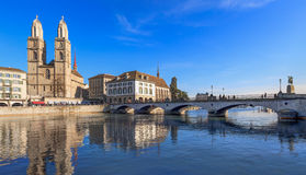 Zurich, the Great Minster Cathedral. And the Muensterbruecke bridge. HDR image Stock Images
