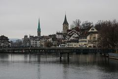 Zurich in grey colour, Switzetland, Travelling in Europe stock image