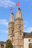 Zurich, Grossmunster decorated with Swiss Flags Royalty Free Stock Images