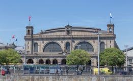 Zurich huvudsaklig järnvägsstationfasad Fotografering för Bildbyråer