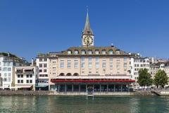 Zurich image. Hotel zum Storohen in Zurich, Switzerland and the Limmat river Stock Photography