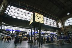 The Big clock and ticket booth of Zurich Main Station Stock Image
