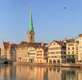 Zurich, the Lady Minster. Zurich, Switzerland - the Lady Minster in a summer morning Royalty Free Stock Image