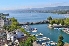 Zurich lake. Beautiful view of Zurich lake in a sunny summer day Stock Photos