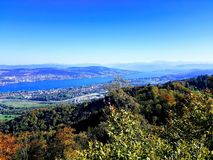 Zurich lake and city royalty free stock photos
