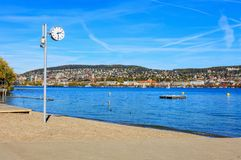 Zurich lakeside i höst Fotografering för Bildbyråer