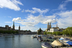Zurich sightseeing old town with Fraumunster and Grossmunster Stock Image