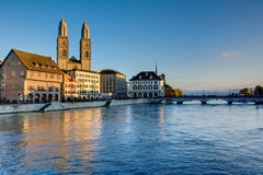 Zurich in the last evening light Stock Images