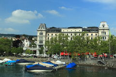 Zurich - Limmat embankment Royalty Free Stock Photo