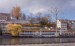 Zurich, Limmat quay with Christmas lamp Royalty Free Stock Photography