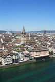 Zurich and the Limmat river stock photo