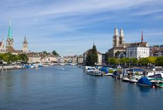 Zurich and the Limmat river Stock Image