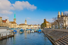 Zurich from Limmat river. View on downtown of Zurich from Limmat river Royalty Free Stock Image