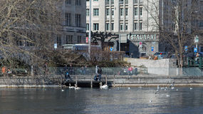 Zurich, the Limmat river in early spring Royalty Free Stock Images