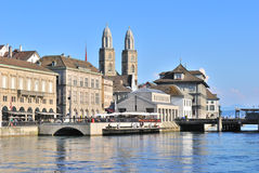 Zurich. Limmat river embankment Stock Images