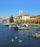 Zurich, the Limmat river and the Great Minster Royalty Free Stock Images