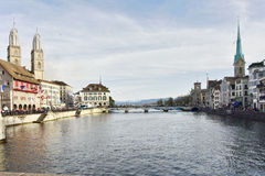 Zurich Limmat River and historic architecture Stock Images