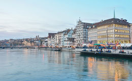 Zurich Limmat River and historic architecture Stock Photography