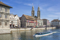 Zurich, the Limmat river and the Limmatquai quay Royalty Free Stock Image