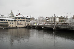Zurich and Limmat river Royalty Free Stock Photography