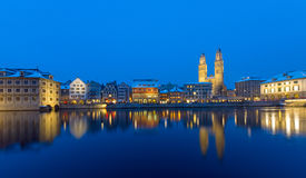 Zurich and the Limmat river at night Royalty Free Stock Photos