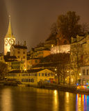 Zurich, Limmat River, November Evening Royalty Free Stock Images