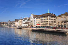 Zurich, Limmat river quay Stock Photos