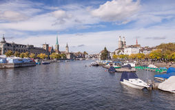 Zurich, the Limmat river. Zurich, Switzerland - the Limmat river on a cloudy day Royalty Free Stock Photos
