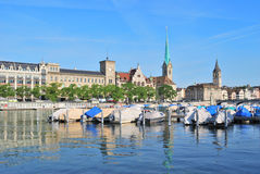 Zurich. Limmat River Stock Images