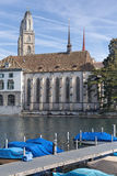 Zurich, the Limmat river and the Water Church Royalty Free Stock Photos