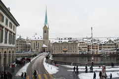 Zurich and Limmat river Stock Photography