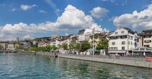 Zurich, the Limmatquai quay Royalty Free Stock Photo
