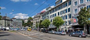 Zurich, the Limmatquai quay Stock Photography