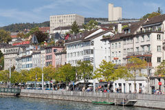 Zurich, the Limmatquai quay Stock Images