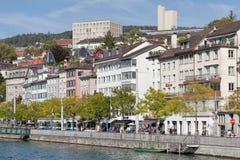 Zurich, the Limmatquai quay Stock Images