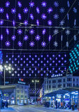 Zurich, Loewenplatz square illuminated for Christmas Royalty Free Stock Photo
