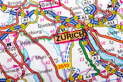Zurich map. The city of  Zurich in detail on the map Royalty Free Stock Images
