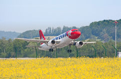 Zurich Airport. ZURICH - MAY 24:Airbus A320 Edelweiss air taking off in Zurich, Switzerland. Zurich International Airport is one of the major Europian Hub and stock photo