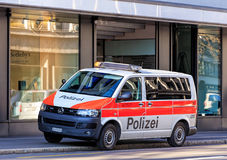 Zurich Municipal Police van on Tahlstrasse street Royalty Free Stock Photography