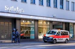 Zurich Municipal Police van on Tahlstrasse street Royalty Free Stock Photo