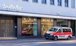 Zurich Municipal Police van on Tahlstrasse street Stock Image