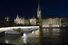 Zurich at night. Bridge in Zurich at night Stock Photo