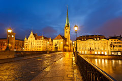 Zurich at night. Downtown of Zurich at night Royalty Free Stock Photos