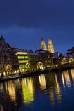 Zurich night cathedral Royalty Free Stock Photo
