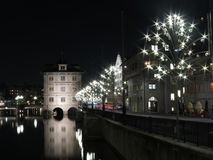 Zurich by night at Limmat Royalty Free Stock Image